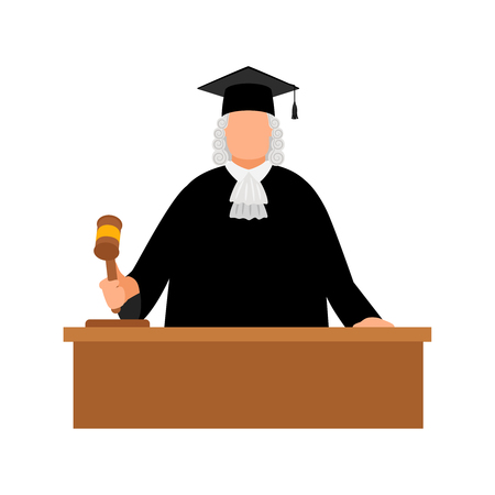 Judge avatar icon on white background, vector illustration
