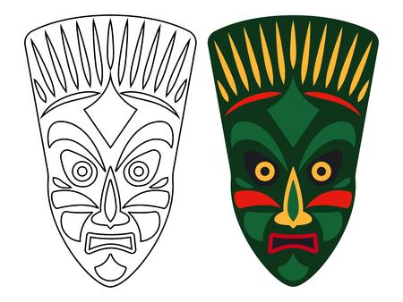 Tribal african masks, color and outline masks isolated on white background, vector illustration