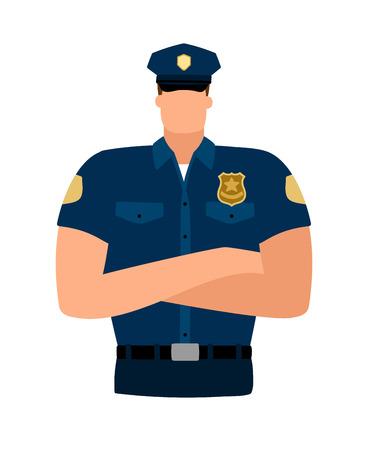 Policeman avatar icon on white background, vector illustration Illustration