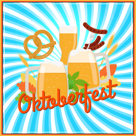Oktoberfest vector poster banner template with beer and pretzels