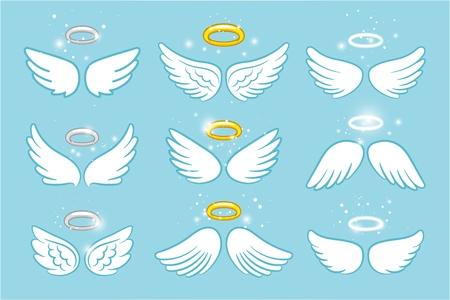 Wings and nimbus. Angel winged glory halo cute cartoon drawings vector illustration Stock Photo