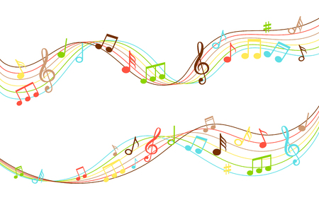 Musical flow. Vibrant color music soundwave pattern isolated on white background, audio wave melody swirl vector illustration Foto de archivo - 112004624