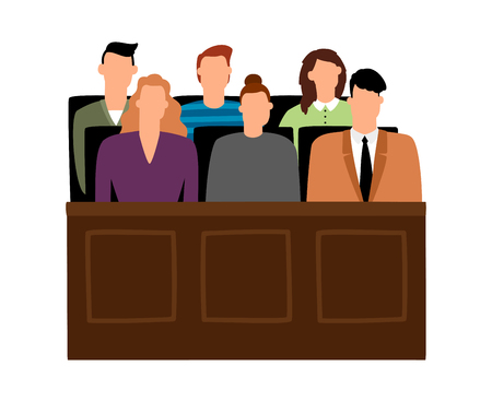 Jury trial. Jurors court in courtroom, prosecution people vector illustration in cartoon style