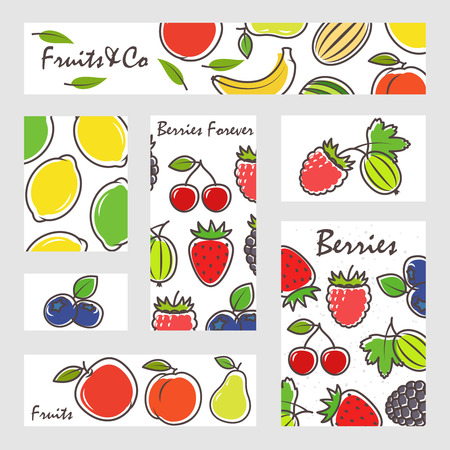Fruits and berries banners set vector illustration