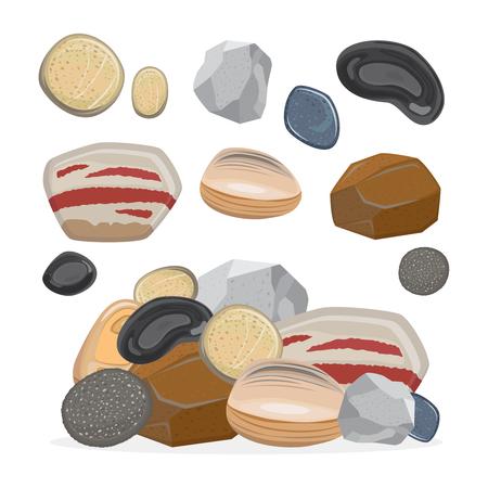 Cartoon stone set and stone rock vector illustration Foto de archivo - 111855447