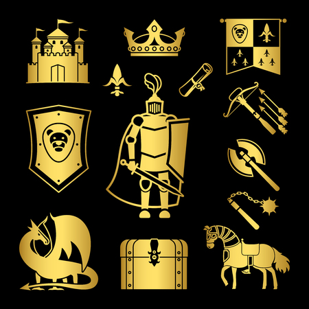 Knighthood in middle ages icons. Gold medieval ancient armor and coat of arms, knight and helmet vector signs