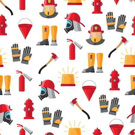 Firefighter icons seamless pattern vector illustration on white