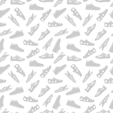 Sport footwear seamless pattern vector illustration on white