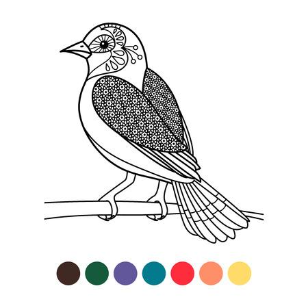 Colorante antiestrés con pájaro aislado sobre fondo blanco, ilustración vectorial