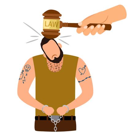 Criminal man vector icon. Criminal punishment concept illustration