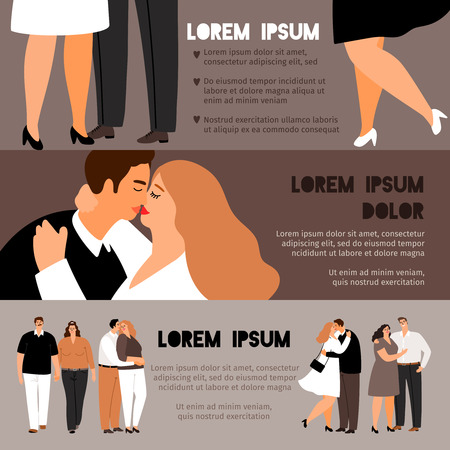 Overweight couples in love banners set, vector illustration
