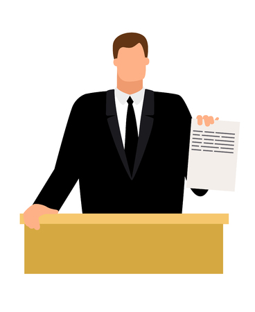 Prosecutor with document in hand icon on white background, vector illustration