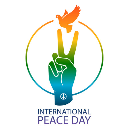 Rainbow colors peace sign pigeon dove and victory hand, vector illustration