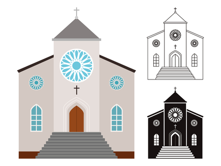 Religion buildings vector set. Churches isolated on white background