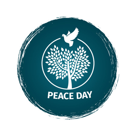 Grunge vector peace day logo or label vector design