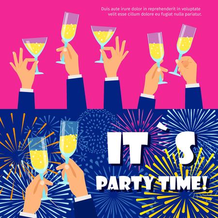 Party Banner Vorlage. Weihnachten, Neujahr, feiernde Hintergründe mit Feuerwerk und Champagner, Vektorillustration