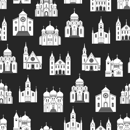 White christian church buildings silhouettes on black background. Religion buildings seamless pattern