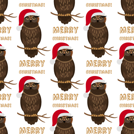 Christmas owl with Santa hat seamless pattern, vector illustration