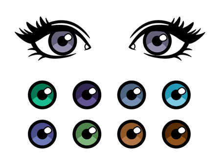Color contact lenses advertising poster with cartoon character female eyes Banque d'images - 109674456