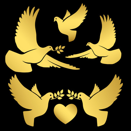 Gold flying dove silhouettes on black background, vector illustration