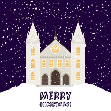 Grußkarte der frohen Weihnachten oder Fahnenschablone mit christlicher Kirche und Schneefallvektorillustration