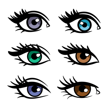 Popular colors vector female eyes isolated on white background, vector illustration Banque d'images - 109674499