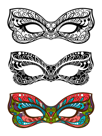 Festive masks vector set. Decorative carnival masks isolated on white background Stock Illustratie
