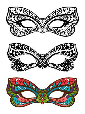 Festive masks vector set. Decorative carnival masks isolated on white background Stockfoto