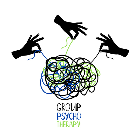 Hands untangling snarl knot, group psychotherapy vector concept illustration