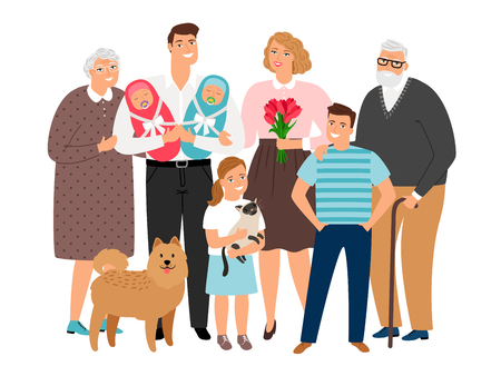 Big family. Happy families portrait with newborns and teenager, grandma and grandfather, smiling kids and dog vector illustration