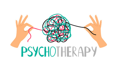 Psychotherapy concept illustration with hands untangling messy snarl knot, vector illustration Vektorové ilustrace
