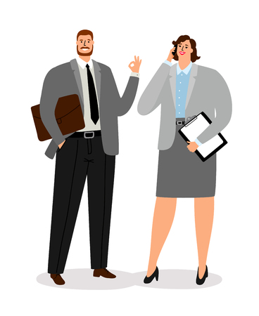 Businessman couple isolated on white background. Business man and woman vector illustration Banco de Imagens