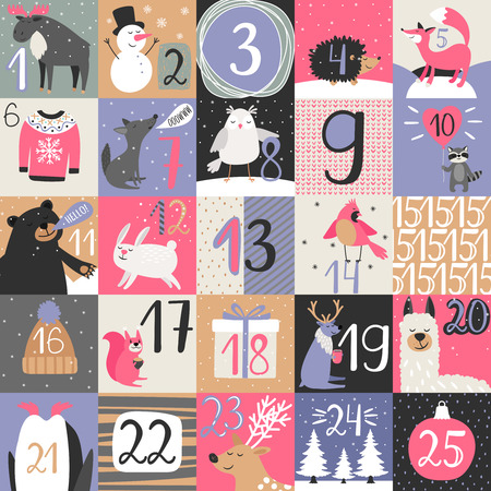 Advent calendar. Christmas december calendar, xmas advent numbers with snowflakes and winter animals vector illustration
