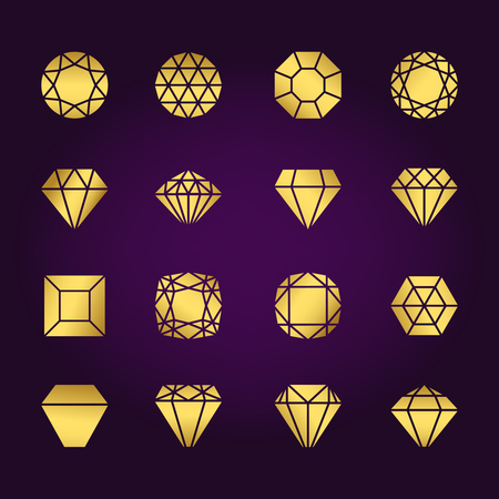 Diamonds shapes gold vector icons set on violet background