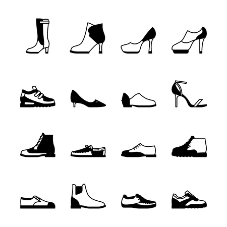 Shoes silhouette vector set. Sneakers, women footwear, boats isolated on white background 版權商用圖片
