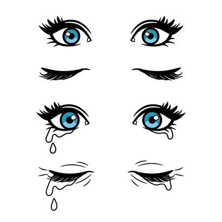 Weite offene und geschlossene weibliche Vektorkarikaturaugen. Weinende blaue Augen lokalisiert auf weißem Hintergrund