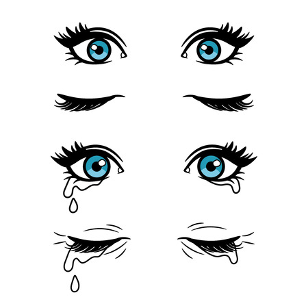 Wide open and closed vector cartoon female eyes. Crying blue eyes isolated on white background