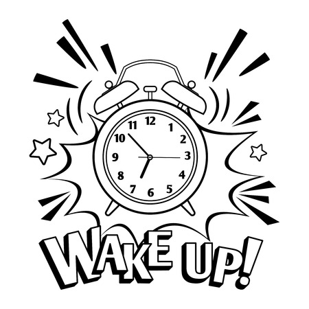 Black and white wake up clock. Vector cartoon alarm clock isolated on white background