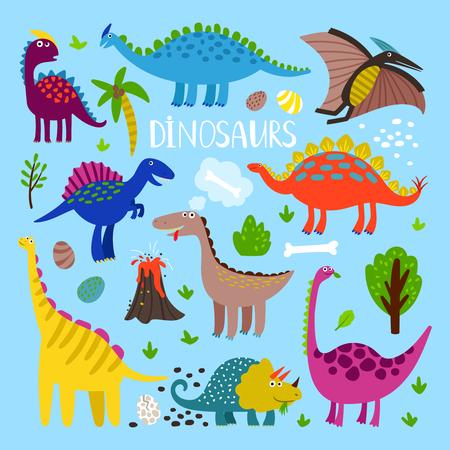Dino vector set. Dinosaurus prehistoric animals like stegosaurus and pterosaur, brachiosaurus and pterosaur Vetores