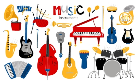 Cartoon musical instruments. Music instrument vector icons, entertainment instrumentation collection isolated on white background Stock fotó