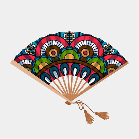 Vintage floral ornament asian fan on white background, vector illustration Foto de archivo - 111388373