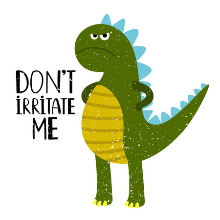 Grumpy dino T-shirt design for kids with lettering, vector illustration