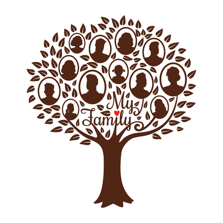 Genealogy tree. Genealogical family tree vector illustration, vintage dynasty ancestry drawing silhouette concept isolated on white
