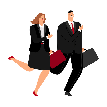 Business man and woman running icon on white backgound, vecto illustration