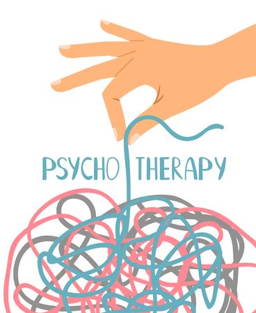 Cartel de psicoterapia, hilo desenredado de la mano humana, ilustración vectorial Ilustración de vector