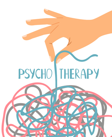 Psychotherapy poster, human hand untangling thread, vector illustration Stock Illustratie