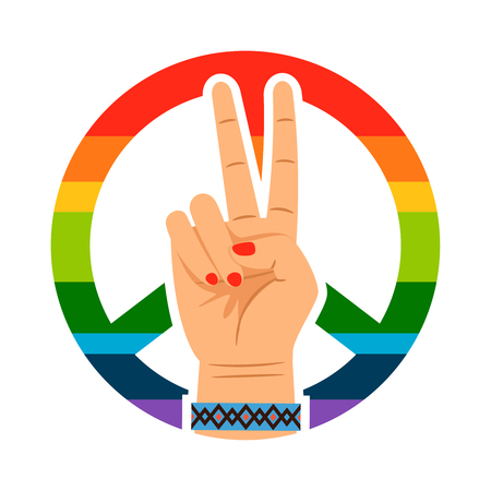 Peace hand and rainbow signs vector isolated on white background  イラスト・ベクター素材