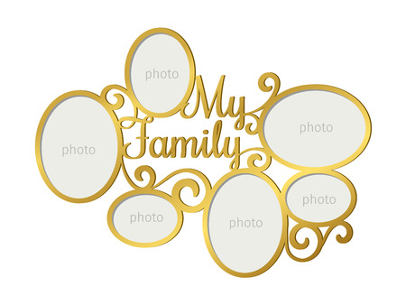 Family photo frame. Laser cutting family photoframe template with photography forms, vector illustration