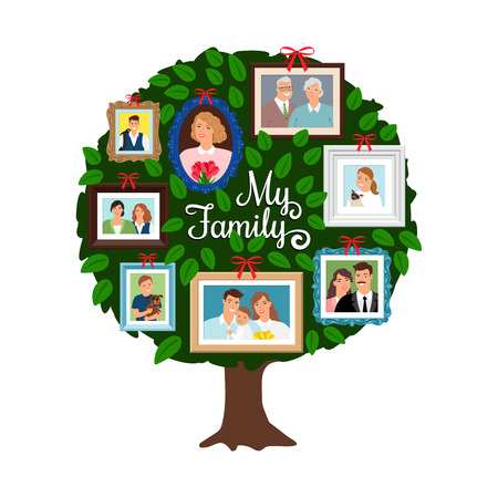 Family tree. Vector genealogical tree with green leaves, grandfather and sister, ancestor and friendly people isolated on white  イラスト・ベクター素材