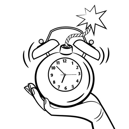 Bomb style alarm clock vector illustration. Wake up clock coloring page